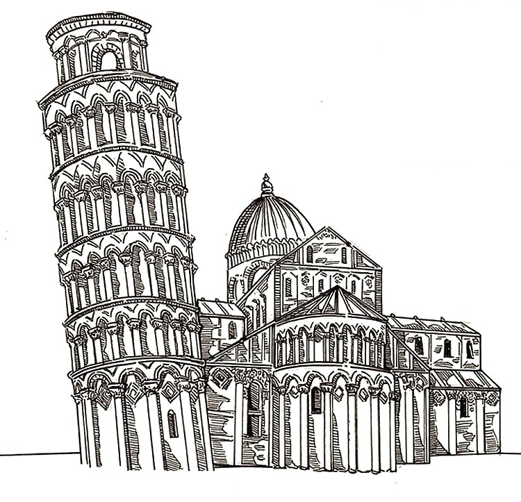 Leaning tower of pisa coloring pages coloring pages for Colosseo da colorare