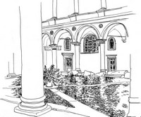 Adult coloring page Inner courtyard