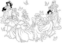 Coloriage anti-stress Princesses Disney