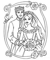 Coloriage anti-stress Barbie Princesse et son Prince