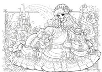Art Therapy coloring page Princess and roses