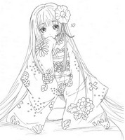 Coloriage anti-stress Princesse japonaise