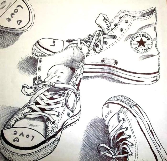 Coloriage anti stress Chaussures : Chaussures Converse 3