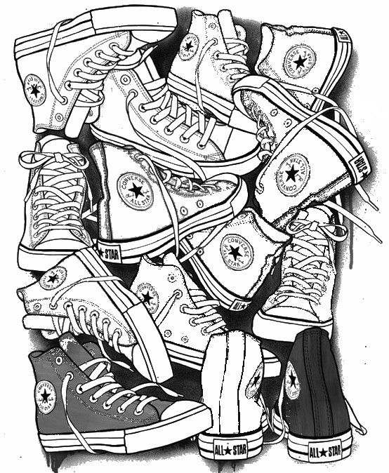 Adult coloring page Shoes : Converse All Star 4