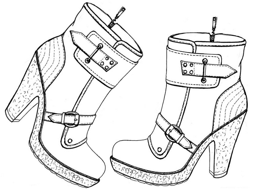 Coloring Pages High Heel Shoes