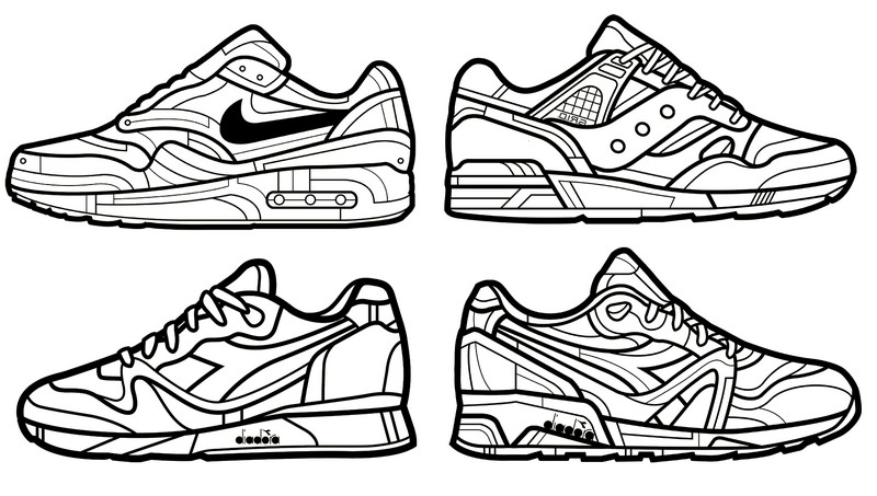 Anti Stress Coloring Pages Shoes