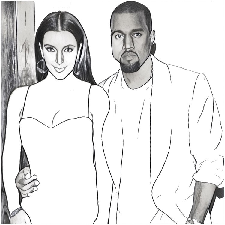 kim kardashian and kanye west more coloring pages