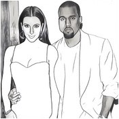 Coloriage anti-stress Kim Kardashian et Kanye West