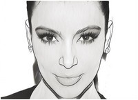 Adult coloring page Face of Kim Kardashian