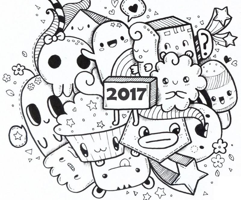 Ausmalen Erwachsene Neujahr 2017 : 2017 9