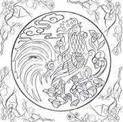 Art Therapy coloring page 2017 Year of the Rooster