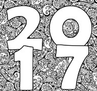 Art Therapy coloring page Happy New Year 2017