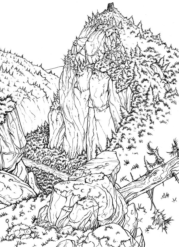 Art therapy coloring page mountain valley 1 - Coloriage montagne ...