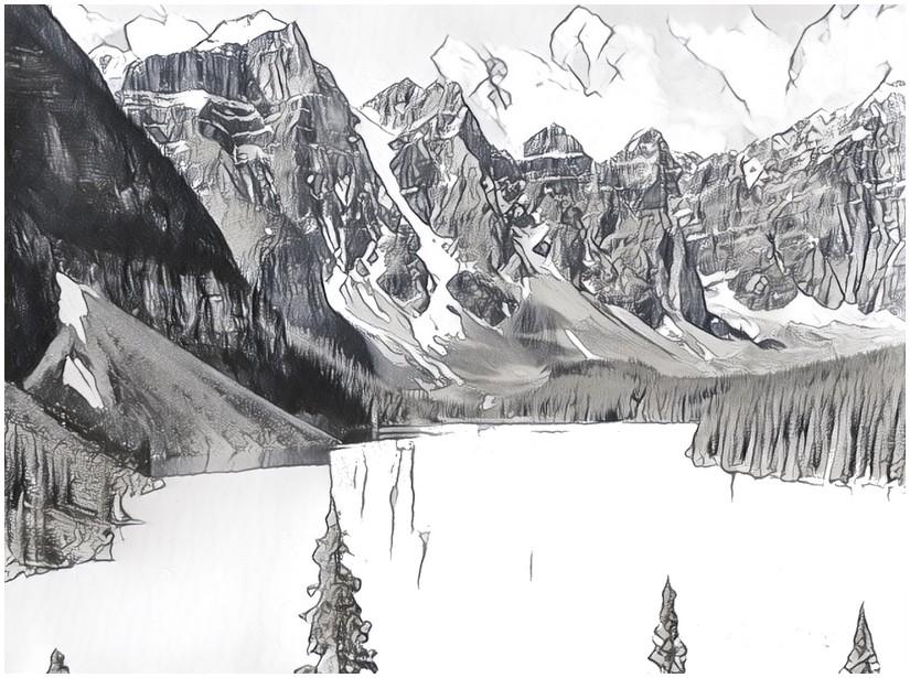Art Therapy Coloring Page Mountain Mountain Lake 10