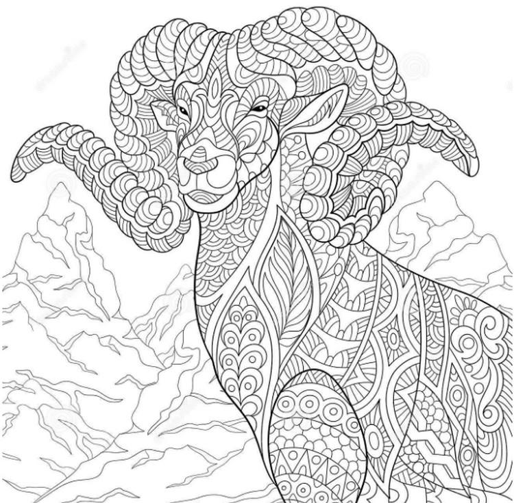 Kleurplaat Ram