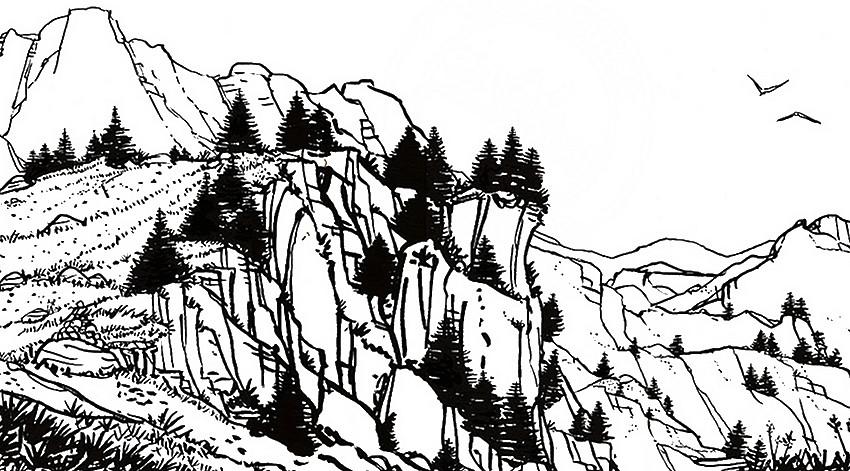 Dibujo Para Colorear Relajante Montana Paisaje De Montaña 2