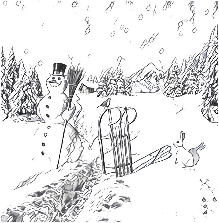 Desenho Para Colorir Anti Stress Montanha : Boneco De Neve 3