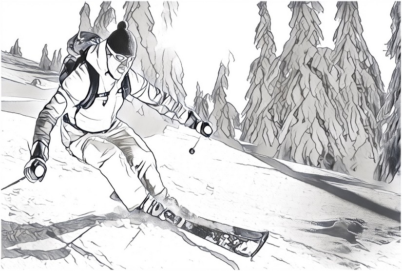 ausmalen als antistress berg  skifahrer 5