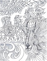 Art Therapy coloring page Ibex on the mountain
