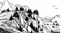 Art Therapy coloring page Mountain landscape