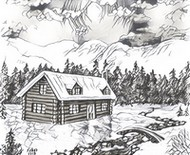 Art Therapy coloring page Chalet in the snow