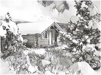 Art Therapy coloring page Snowy cottage