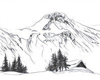 Disegno da colorar antistress Montagne innevate