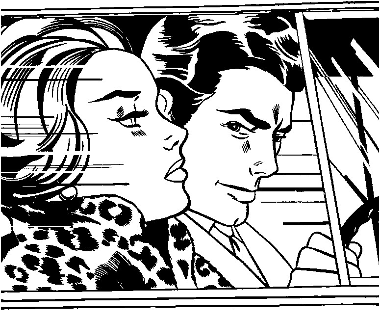 Art Therapy coloring page Roy Lichtenstein In the car 1