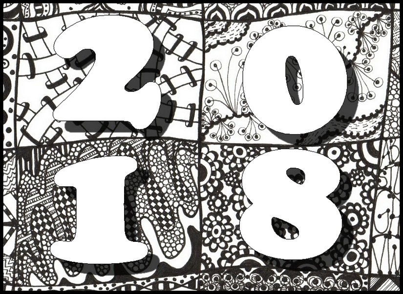Art Therapy coloring page New Year 2018