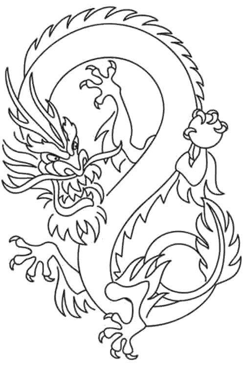 Kleurplaten Witte Tijger.Anti Stress Kleurplaten Zuid Korea Koreaanse Draak 5
