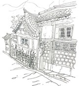 Disegno da colorar antistress Bukchon Hanok village