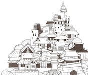 Art Therapy coloring page Korean traditional houses