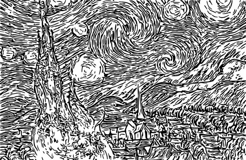 Disegno Da Colorar Antistress Van Gogh Notte Stellata 1