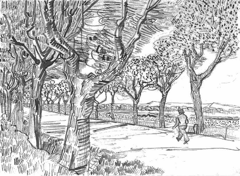 Disegno Da Colorar Antistress Van Gogh Sulla Strada Per