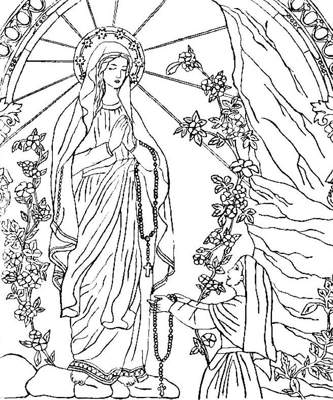 Coloriage Anti Stress Vierge Marie Notre Dame De Lourdes 12