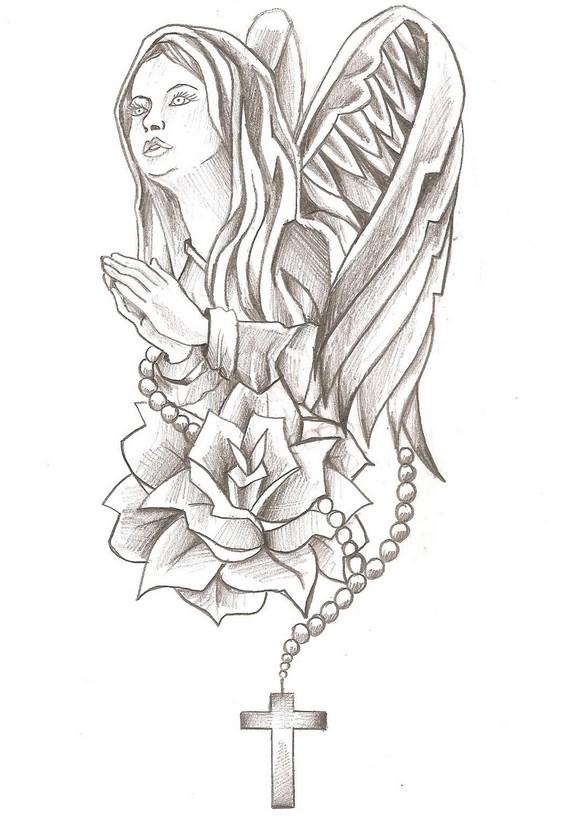 Coloriage Anti Stress Vierge Marie Marie Rose Et Croix 4