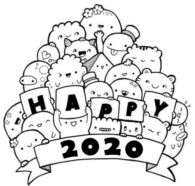 Desenho Para Colorir Anti Stress Ano Novo 2020 Happy 2020 3