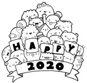 Art Therapy coloring page Happy 2020