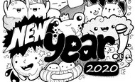 Coloriage anti-stress New Year 2020
