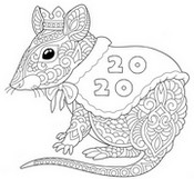 Art Therapy coloring page Year of the rat 2020