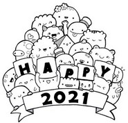 Art Therapy coloring page Happy 2021