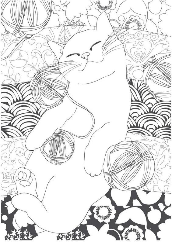 Dibujos para colorear para adultos Animales : Gato 1