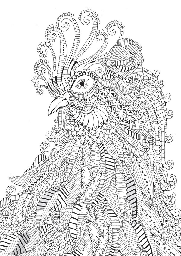 Free Year Of The Rooster Coloring Pages, Download Free Clip Art ... | 850x601