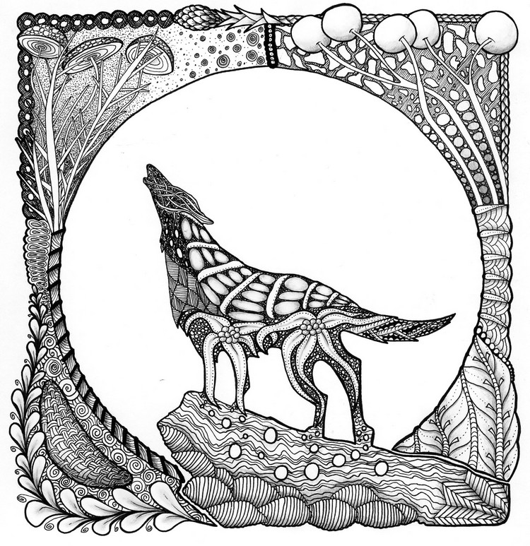 Adult coloring page animals  Wolf 1