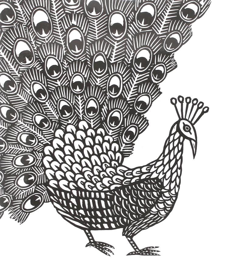 Dibujo Para Colorear Relajante Animales Pavo Real 1