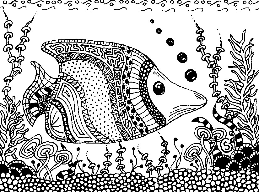 Coloriage anti stress animaux poisson 1 for Adult fish coloring pages