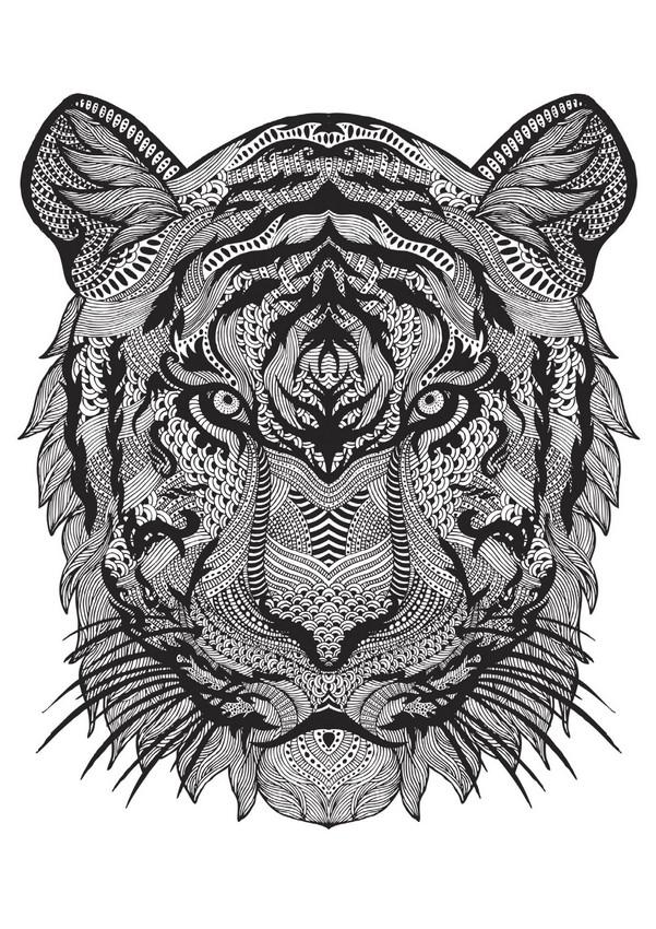 ausmalen als antistress tiere  tiger 1