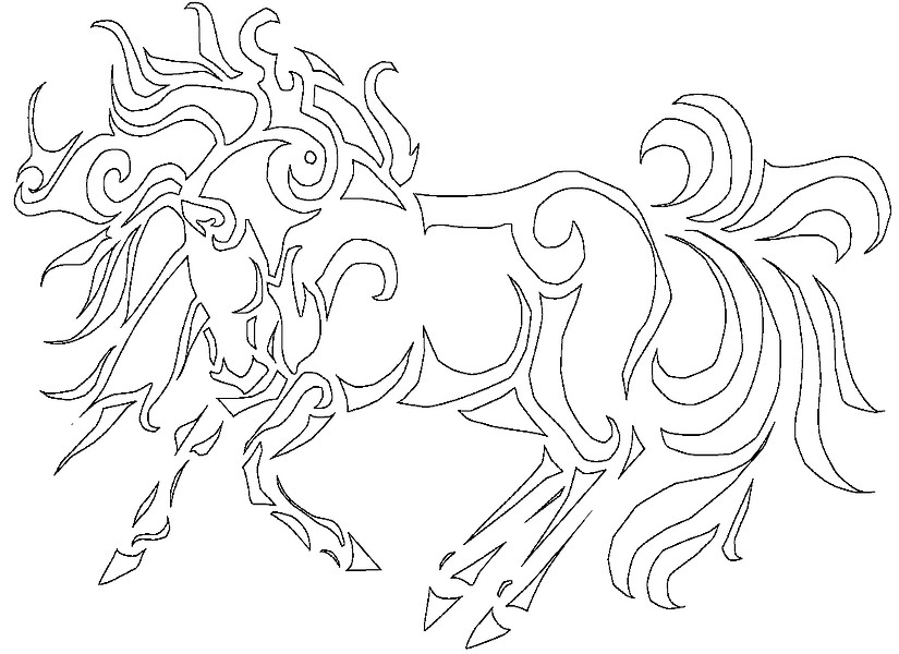 Adult coloring page Horses 4