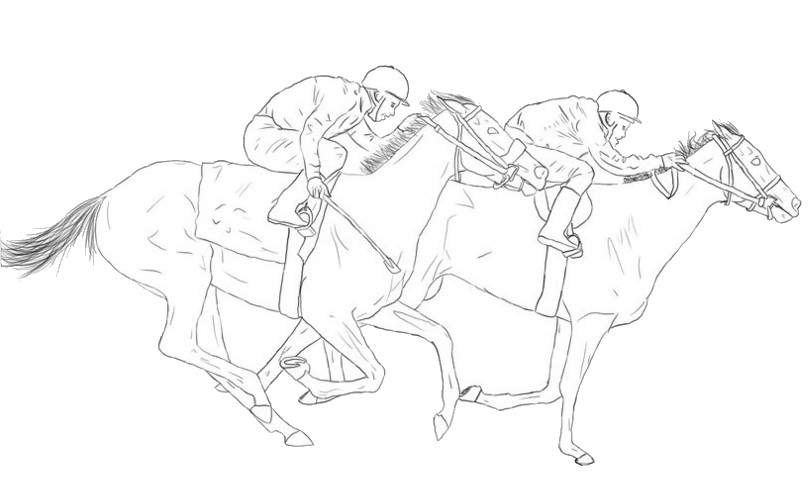 Horse Race More Coloring Pages