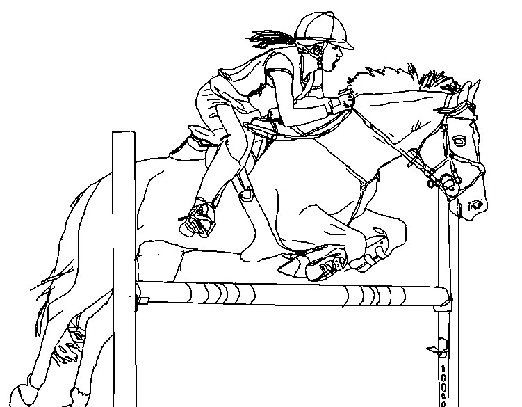 Show Jumping More Coloring Pages Horses